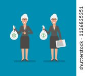 old business woman holds bag... | Shutterstock .eps vector #1126835351