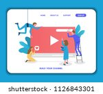 build your own video blog...   Shutterstock .eps vector #1126843301