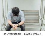 christian teenager man hand... | Shutterstock . vector #1126849634