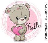 cute cartoon teddy bear girl... | Shutterstock .eps vector #1126854197
