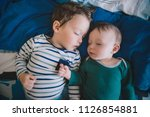 two little baby brothers... | Shutterstock . vector #1126854881