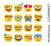 nerd emojis with glasses.... | Shutterstock .eps vector #1126868657