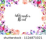 watercolor floral background.... | Shutterstock . vector #1126871021