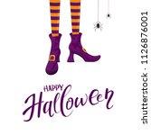 lettering happy halloween with... | Shutterstock .eps vector #1126876001