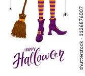 lettering happy halloween with... | Shutterstock .eps vector #1126876007