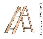 isolated wooden step ladder... | Shutterstock .eps vector #1126878284