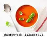 tomato soup flat lay on white... | Shutterstock . vector #1126886921