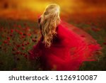sexy blond girl in elegant... | Shutterstock . vector #1126910087