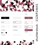 light pink  red vector ui kit...