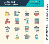 coffee and coffee makers icons. ... | Shutterstock .eps vector #1126921127