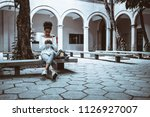 wide angle view of a pensive... | Shutterstock . vector #1126927007