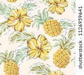 tropical yellow hibiscus...   Shutterstock .eps vector #1126959641