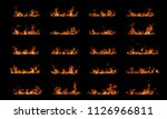 fire flames on black background. | Shutterstock . vector #1126966811
