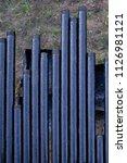 oil drill pipe. rusty drill... | Shutterstock . vector #1126981121