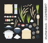 rice vector flat icon set  big... | Shutterstock .eps vector #1126988897