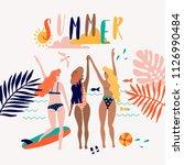 summer pop art illustration... | Shutterstock .eps vector #1126990484