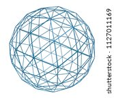 blue wireframe sphere isolated... | Shutterstock . vector #1127011169