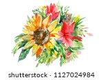 abstract bouquet of flowers ... | Shutterstock . vector #1127024984