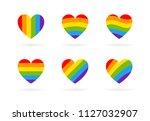 pride lgbt heart vector icon... | Shutterstock .eps vector #1127032907