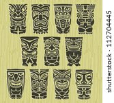 vintage carved polynesian tiki... | Shutterstock .eps vector #112704445
