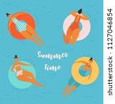 summer time lettering. pretty... | Shutterstock .eps vector #1127046854