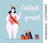 celebrate yoursel and be good... | Shutterstock .eps vector #1127046857