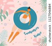 summer time lettering. pretty... | Shutterstock .eps vector #1127046884