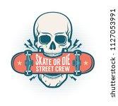skull holds a skateboard in his ...   Shutterstock .eps vector #1127053991