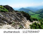 the rocky slope with view on... | Shutterstock . vector #1127054447