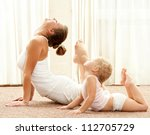 mother and daughter doing... | Shutterstock . vector #112705729