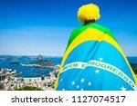 patriotic brazilian soccer fan...   Shutterstock . vector #1127074517