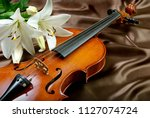 Violin And Lily On A Silk...