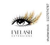 eyelash extension logo. makeup... | Shutterstock .eps vector #1127074787
