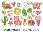 summer stickers. turtle  llama  ... | Shutterstock .eps vector #1127077271