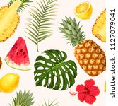 pineapple and watermelon... | Shutterstock .eps vector #1127079041