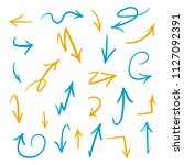brush arrows set in blue and... | Shutterstock .eps vector #1127092391