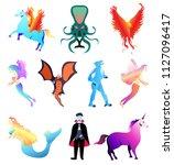 fantastic beasts creatures. set ... | Shutterstock .eps vector #1127096417