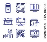 set of 9 computer outline icons ... | Shutterstock .eps vector #1127100011