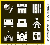set of 9 buildings filled icons ... | Shutterstock .eps vector #1127100071