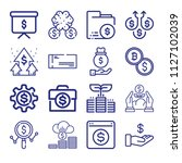 set of 16 dollar outline icons... | Shutterstock .eps vector #1127102039