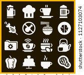 set of 16 food filled icons... | Shutterstock .eps vector #1127103074