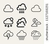 set of 9 sky outline icons such ...   Shutterstock .eps vector #1127103251