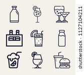 set of 9 drink outline icons... | Shutterstock .eps vector #1127104211
