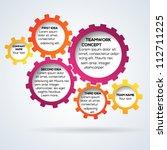 colorful 3d gears teamwork... | Shutterstock .eps vector #112711225