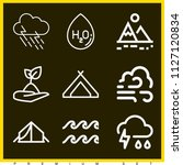 set of 9 nature outline icons... | Shutterstock .eps vector #1127120834