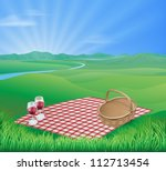 illustration of a picnic in a... | Shutterstock .eps vector #112713454