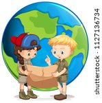 boy and girl scouts reading map ... | Shutterstock .eps vector #1127136734