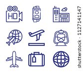 Set Of 9 Travel Outline Icons...