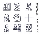 set of 9 woman outline icons... | Shutterstock .eps vector #1127147264