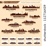 Skyline city set. 10 cities of USA #3 - stock vector